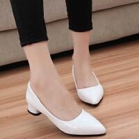春秋大码41-43码白色低跟三厘米工作鞋伪娘鞋尖头高跟鞋职业单鞋
