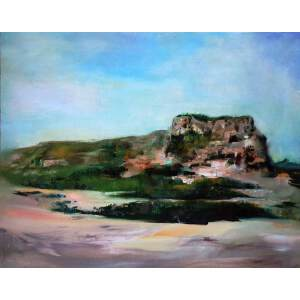 刘佳腾 当代青年油画家 《郛堤城遗址》木板油画 40x50cm