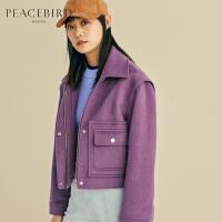 紫色短款毛呢外套女英伦风春装2019新款箱型直筒小个子羊毛大衣女