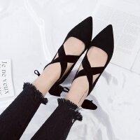 黑色职业高跟鞋绑带蝴蝶结绒面粗跟7cm浅口性感单鞋女小清新工作