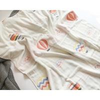 日系柔卡通六层棉宝宝纱布盖毯新生儿包被儿童毛巾被y