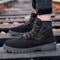 学生高帮男鞋秋季韩版运动鞋复古工装靴百搭透气休闲鞋潮流马丁靴 黑色 ZL02X