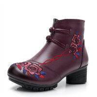 女士短靴女中老年名族风中跟妈妈鞋加绒保暖棉鞋中年皮鞋