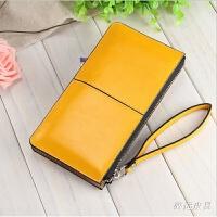 新款韩版女士钱包长款拉链手拿包大容量手机钱包糖果色潮女包包 黄