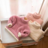 宝宝毛衣加绒加厚女1-3岁高领0女童装仿水貂绒针织衫上衣
