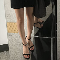 凉鞋女细跟中跟2018新款夏季一字扣带露趾小清新网红高跟凉鞋女夏