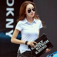 夏季韩版衬衣领时尚修身短袖T恤纯色棉女装T恤上衣