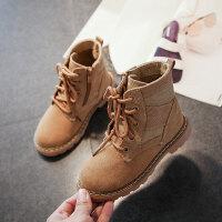 儿童马丁靴 男女童加绒加厚棉靴2020冬季男女孩反绒皮保暖棉鞋中大童短靴亲子靴