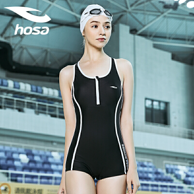 hosa浩沙泳衣女连体平角保守新款修身显瘦性感带拉链运动专业 舒适面料 撞色设计 前胸带拉链易穿脱