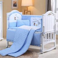 婴儿床上用品套件婴儿床品床围四季通用宝宝床上用品可拆洗