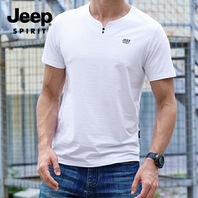 吉普(JEEP)短袖T恤 男士棉圆领休闲短袖 时尚潮流简约运动小衫