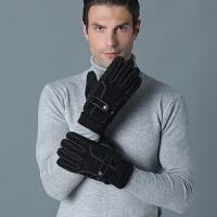 男士皮手套冬季加厚保暖防寒防滑可触屏手套户外骑行电动车手套