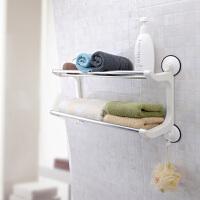 双庆1804家居40cm吸盘双层收纳置物架厨卫不锈钢浴巾架浴室挂件免打孔厕所卫生间置物架