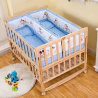双胞胎婴儿床拼接大床实木无漆摇篮床新生儿童床双人宝宝床多功能