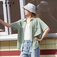 森马2021夏新款短袖衬衫女韩版时尚BF风工装衬衣翻领宽松显瘦上衣