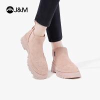 【爆款潮靴】JM快乐玛丽2019秋季新款一脚蹬高帮鞋厚底百搭休闲马丁靴女靴