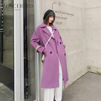 紫色翻领双排扣羊毛大衣女中长款春装2019新款袖口刺绣风衣式毛呢