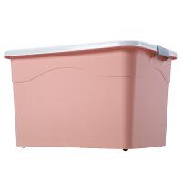 20190421055746982特大号衣服收纳箱塑料整理箱大号家用有盖储蓄储物箱子书箱三件套