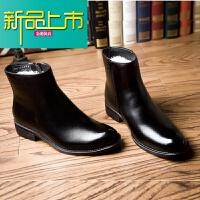 新品上市秋冬季加绒英伦真牛皮羊毛男皮鞋商务正装马丁靴子棉短靴