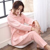 睡衣女秋冬季纯棉长袖加厚冬秋季妈妈夹层家居服冬天薄款夹棉套装