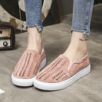 跨镜加大码35-43码ebay wish2019单鞋女镂空平跟休闲乐福鞋