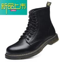 新品上市春季英伦风马丁靴45真皮加绒46中帮工装靴高帮男靴47大码男鞋48