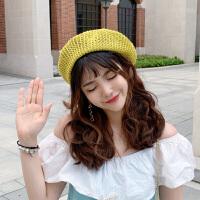 贝雷帽女夏季薄款韩版帽子女百搭日系画家帽子镂空透气潮遮阳防晒