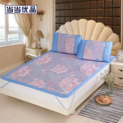 当当优品凉席 可折叠提花冰丝席三件套 防滑1.8米空调席 盛世牡丹(蓝) 180*200cm