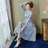 蕾丝连衣裙女春秋2019流行女装新款春装超仙女法国山本复古裙子夏 蓝色