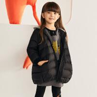 【2件88/3件8折后到手价:559.2元】马拉丁童装女童中长羽绒冬装新款拼接罗纹外套时尚连帽羽绒服