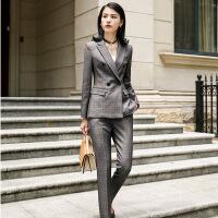 2019新款西装套装女冬装韩版时尚英伦风格子西服外套马甲双排扣气质职业装