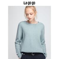 Lagogo/拉谷谷2019冬季新款港味文艺时尚针织衫女HCMM43YH21