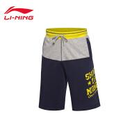 李宁短裤短卫裤男士2017新款篮球系列针织运动裤AKSK073