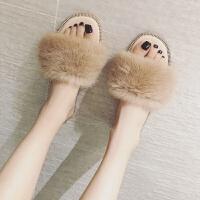 毛毛拖鞋女夏季新款韩版时尚外穿凉拖社会学生平底水钻一字拖