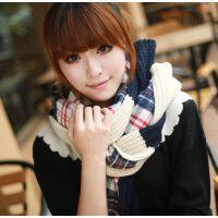 户外情侣保暖 新款加厚双面格子毛线休闲格子围巾