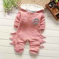 婴儿连体衣服秋季初生女宝宝哈衣冬装潮服12满月0岁3个月6新生儿