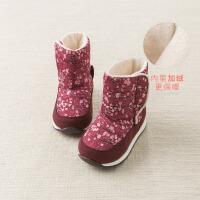 davebella戴维贝拉童装冬季新款女童靴子宝宝加绒保暖棉靴DB11601