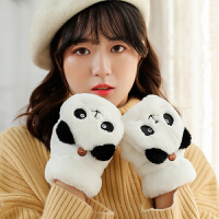 毛绒手套女冬可爱韩版学生毛茸茸保暖加厚冬天半指翻盖棉手套加绒
