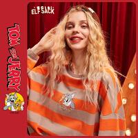 【2件2.5折:86】【猫和老鼠联名】妖精的口袋条纹长袖t恤2020春新款女打底衫上衣