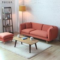 日式小户型客厅三人沙发简约现代双人两人位卧室租房北欧布艺沙发 大(2.1米)+脚踏