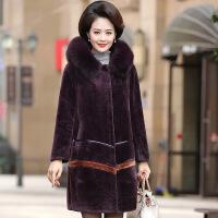 妈妈阔太太高贵羊剪绒大衣中年女装秋冬装皮草中老年皮毛一体外套