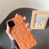 日韩ins简约脏橘色iphone11promax苹果x手机壳xsmax褶皱软壳苹果8plus创意7plus防摔个性6p