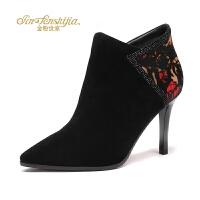 红蜻蜓旗下品牌金粉世家秋冬新款短靴女士羊皮女靴尖头细高跟裸靴