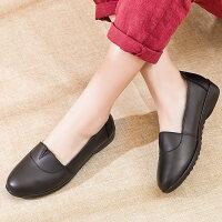中老年女鞋中年老人奶奶鞋工作皮鞋春秋妈妈鞋真皮软底舒适女单鞋 黑色
