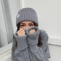 帽子女士秋冬新款字母刺绣针织毛线帽韩版户外街头保暖套头帽