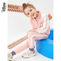 迪士尼童装2020春季新款女童时尚撞色运动服两件套宝宝长袖套装