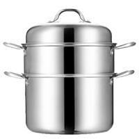 不锈钢蒸锅加厚复底28CM二层2层3层蒸笼家用锅具蒸汽锅蒸鱼
