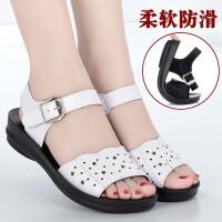 妈妈凉鞋平底夏季女鞋软底舒适女士凉鞋清爽透气中老年凉鞋女