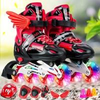 溜冰鞋儿童 初学者女童轮滑鞋儿童初学者套装男童单排可调节闪光