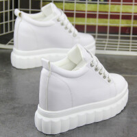 �仍龈哌\�有�女鞋2018新款百搭坡跟小白鞋10cm�W生厚底白鞋�涡�子 白色